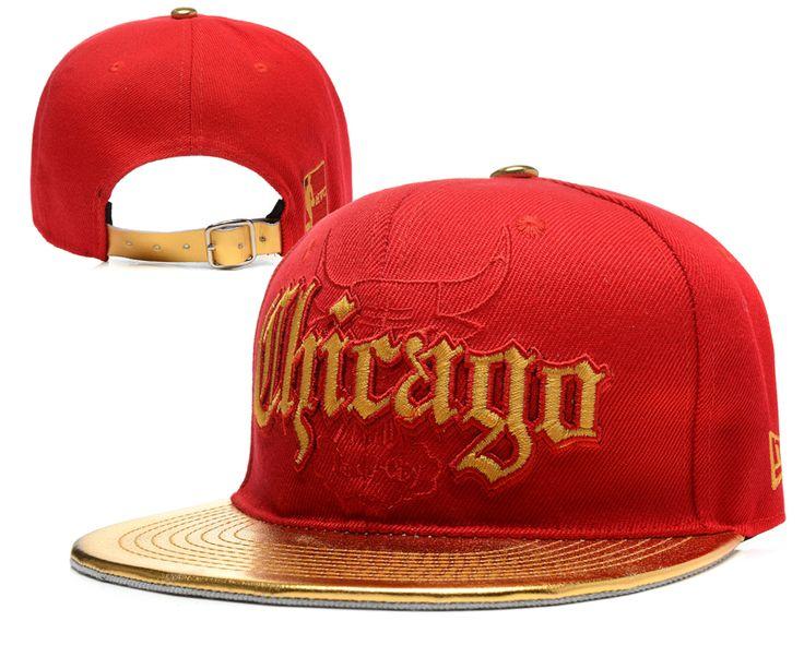 NBA CHICAGO BULLS Strapback New Era 9FIFTY Hats brim leather Reds 871