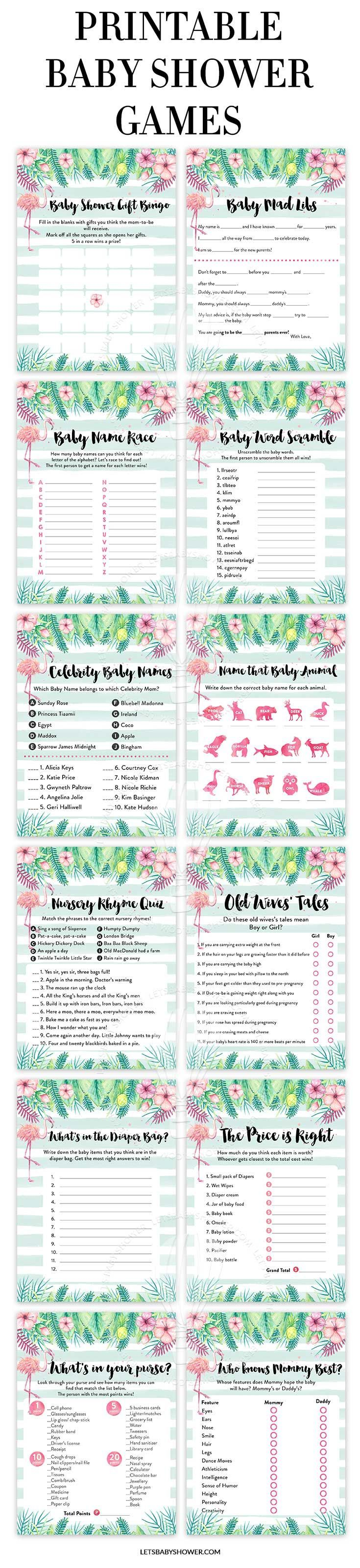Looking for a Baby Shower theme for Girls? Here's one of the baby shower ideas your guests will surely enjoy. Tropical Flamingo Baby Shower Games for Girls #BabyGames