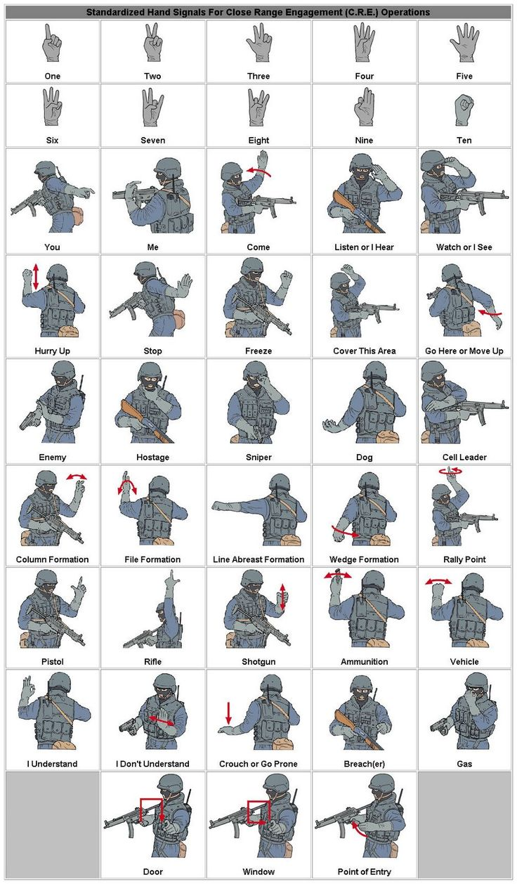 Military hand signals (Now I'll be able to figure out what all those people are doing/saying in my post-apocalyptic movies!)