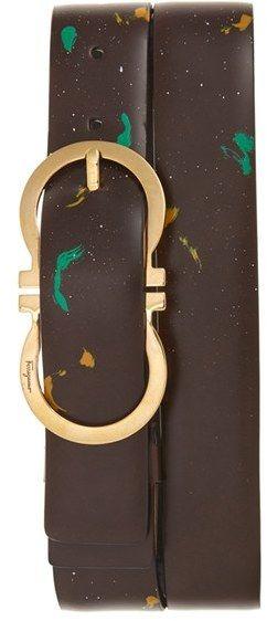 Men's Salvatore Ferragamo Paint Splatter Leather Belt