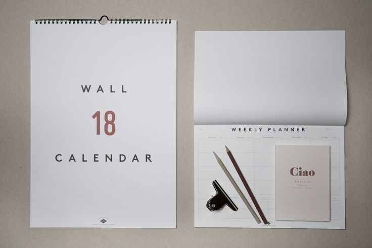 Wall Calendar 2018, Weekly Planner and Notepad Ciao by Low Key (@lowkeygoods). Available at www.grandpastore.com.