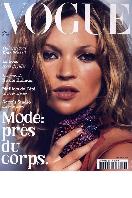 Vogue Paris mai 2003: http://www.vogue.fr/mode/cover-girls/diaporama/kate-moss-en-18-couvertures-de-vogue-paris/4608/image/454817#vogue-paris-mai-2003