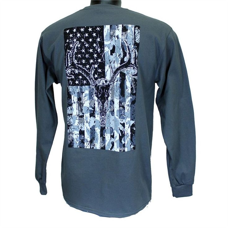 Cowboy Hardware-Long Sleeve Skull Flag T-Shirt - Mens Hunting Hardware  Charcoal Skull