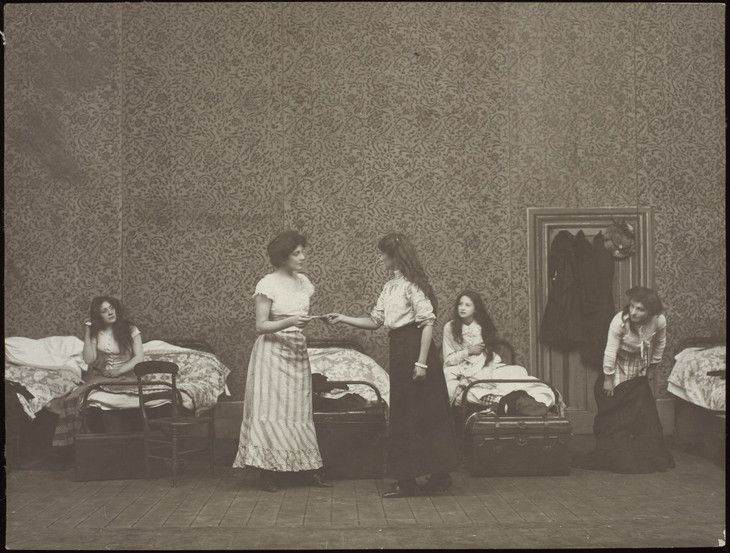 The Dormitory Scene in Cicely Hamilton's 'Diana of Dobson's' c.1908–9