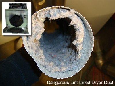 Lint Clogged Dryer Duct - © 2009 Home-Cost.com