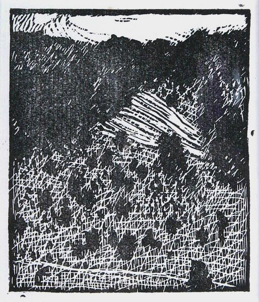 Vojtěch Preissig  Stráň pod lesem  dřevoryt, 1911