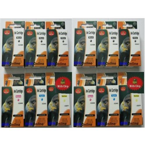 12 Druckerpatronen für Canon mg Serie 2 x PGI-525BK 2 x CLI-526BK 2 x CLI-526C 2 x CLI-526M 2 x CLI-526Y 2 x grau CLI-526GY kompatibel