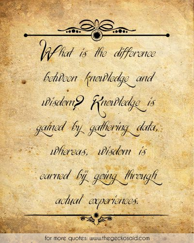 What is the difference between knowledge and wisdom? Knowledge is gained by gathering data, whereas, wisdom is earned bij going through actual experiences.  #actual #between #data #difference #earned #experiences #gathering #knowledge #quotes #wisdom