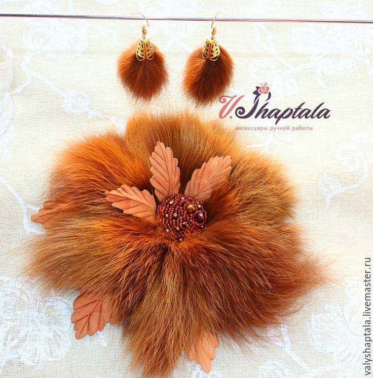 Купить Серьги из лисички - рыжий, серьги из меха, серьги с мехом, зима 2015, лиса