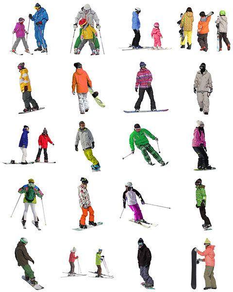 スキー人物素材無料-フリーCutout-People-Skiing