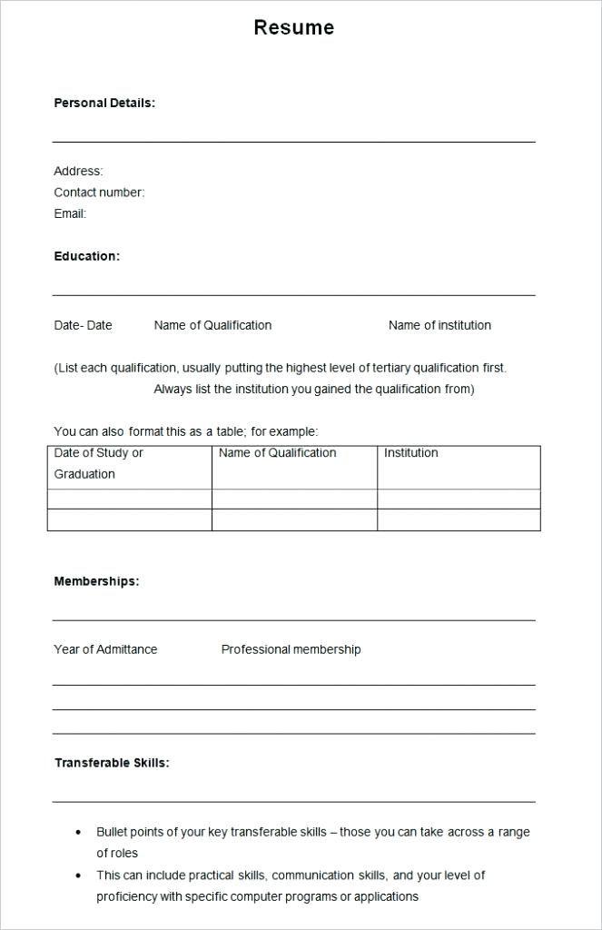 Printable Sample Resume Template