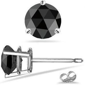 0.70 Cts AA Round Rose Cut Black Diamond Mens Stud Earring In Platinum
