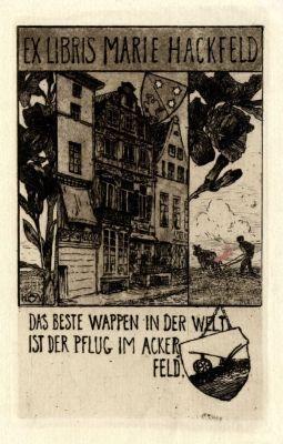 Bookplate by Heinrich Johann Vogeler for Marie Hackfeld, 1900c.