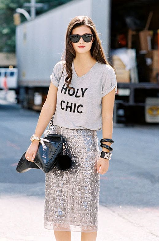 Holy Chic. Peony Lim in a sequin skirt #style #fashion #streetstyle: Chic Outfit, Holy Chic, Graphics Tees, Sequins Skirts, Fashion Week, Street Styles, New York Fashion, Pencil Skirts, T Shirts