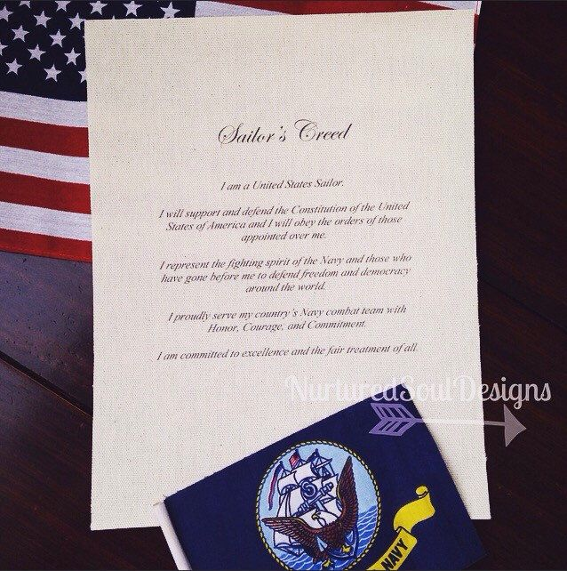 United Stated Navy Sailor's Creed / Sailor's Creed / U.S. Navy / Navy Recruit / Military Creed by NurturedSoulDesigns on Etsy https://www.etsy.com/listing/241287677/united-stated-navy-sailors-creed-sailors