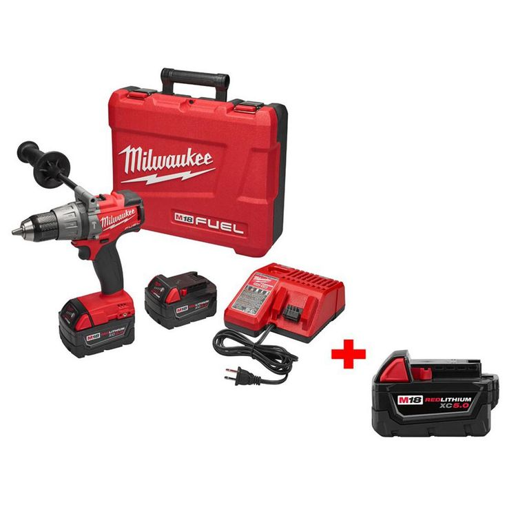 Milwaukee M18 Fuel 18-Volt Lithium-Ion Cordless Brushless 1/2 in. Hammer Drill/Driver Kit with Free M18 18-Volt XC 5.0Ah Battery