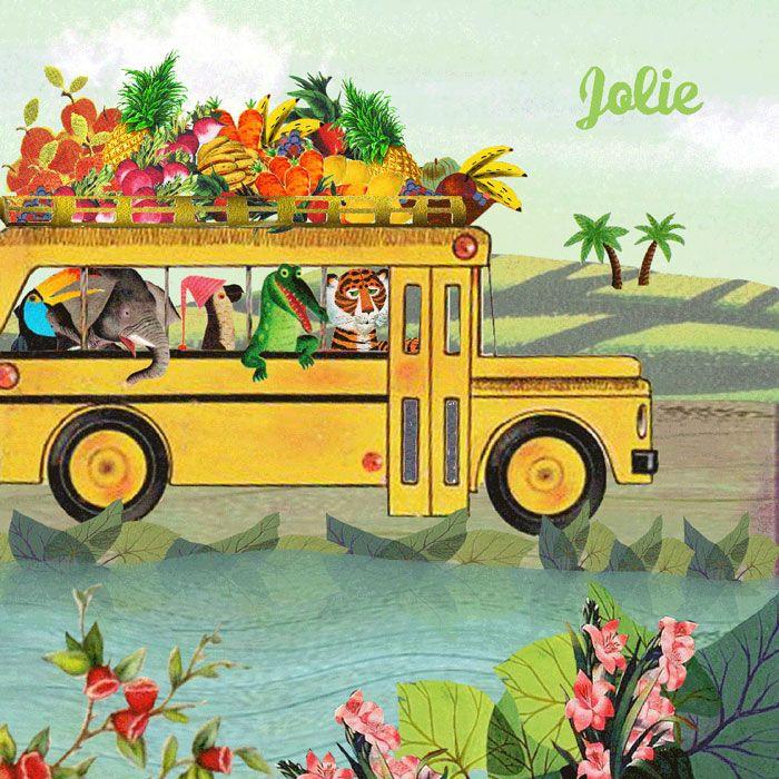 Geboortekaartje retro bus met dieren in zomers landschap. De tijger, krokodil, papegaai, olifant en toekan gaan een reis maken. #geboortekaartje #birthannouncement copyright Studio POPPY | POPPY-Geboortekaartje.nl