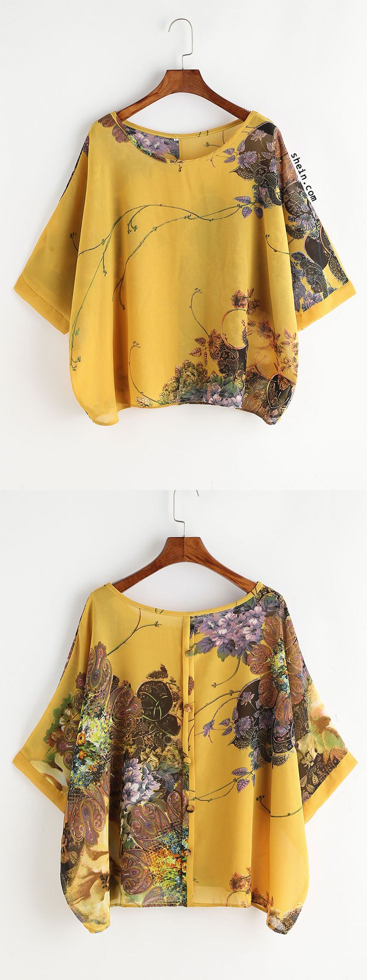 Yellow Random Florals Button Back Blouse ...with white jeans?