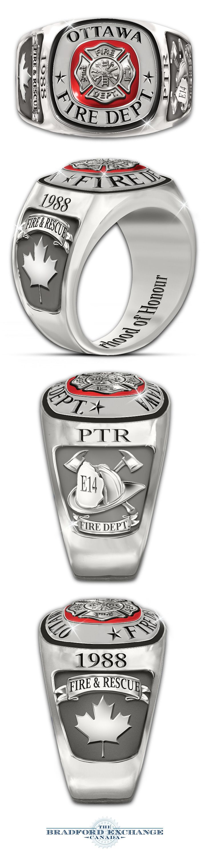 Solid stainless steel firefighters ring with Maltese cross, red enameling. Customize with city, initials, year and engine company number.