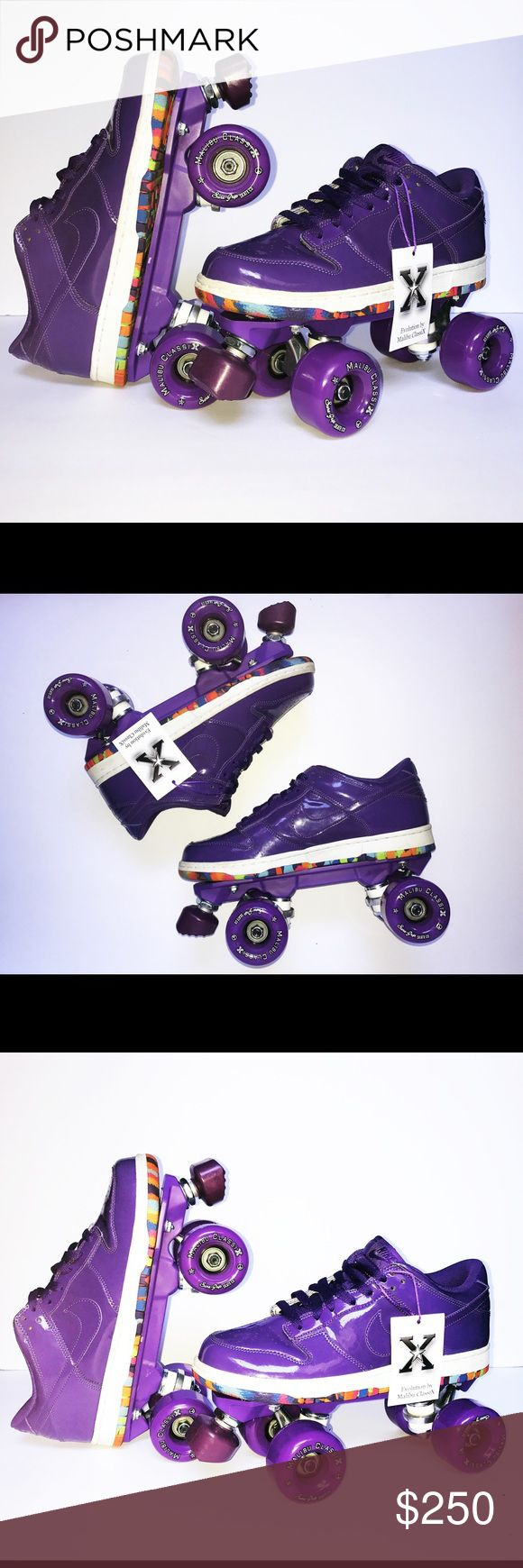 Nike Dunk Roller Skates This is a new one of a kind Indoor/ outdoor Classic Sneaker Roller Skate. The sneaker is a very Rare, 2010 classic Nike Dunk Low, custom designed my Malibu ClassiX.  The purple frame is made of a lightweight DuPont nylon. The wheels are 62mm x 38mm 85A Hardness. Custom Designed Nike Dunk Low Sneaker RollerSkates Nike Shoes Sneakers
