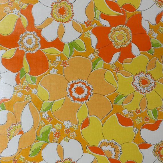 1970's Vintage Wallpaper Large Retro Orange by kitschykoocollage, $14.00