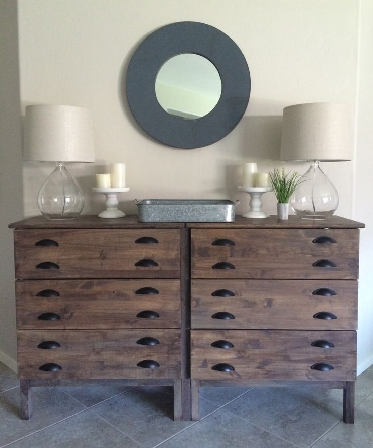 Hello! Last weekend I completed one of my biggest DIYs and I am so pleased with how it turned out. I took a $79 IKEA Tarva Chest, stained it and added new hardware to achieve a Restoration Hardware Printmakers Console look for a lot less!This is an