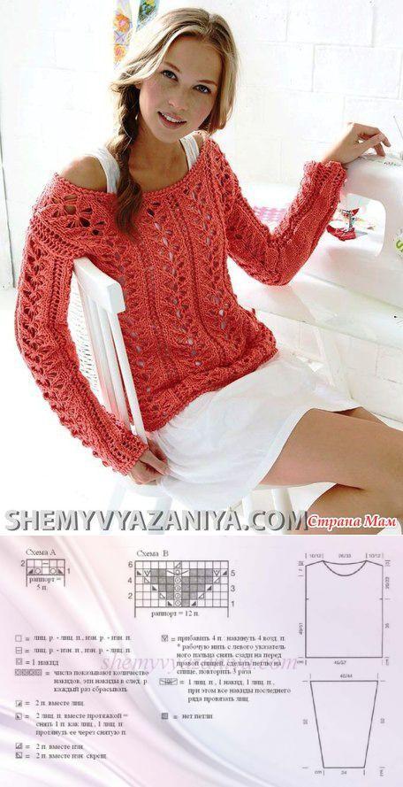 @@@ Ажурный пуловер - Вязание спицами - Страна Мам | вязание | Постила