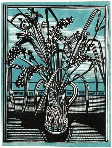 Cat Mint & Irises by Richard Bawden