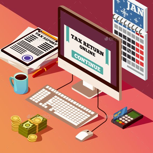 Accounting And Taxes Isometric Composition Isometric