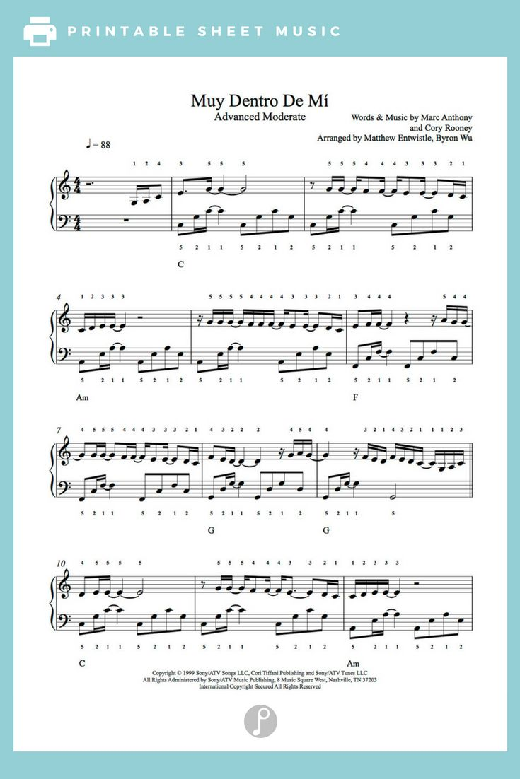 Muy Dentro De Mi You Sang To Me By Marc Anthony Piano Sheet