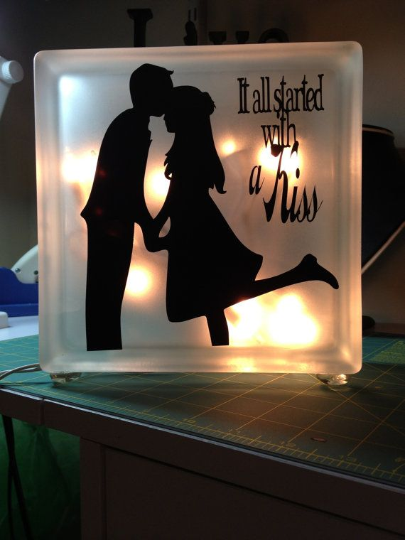glass block lighting. glass block night light with silhouette and phrase by walkaboutway 2500 lighting