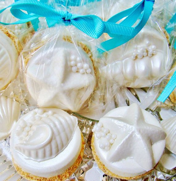 "Chocolate Covered Oreo Cookies  Seashells On A ""SANDY"" Beach Hawaiian Luau Party Favor Unique Wedding Favor Beach Wedding Favors Candy"