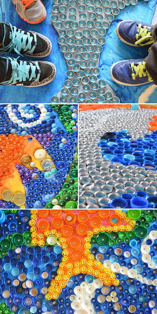 School wide bottle cap mural project beautiful murals for Mural collage