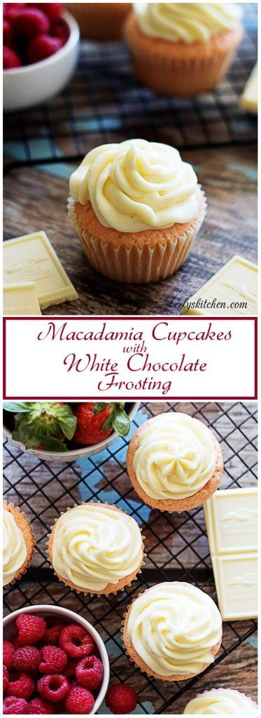A decadent macadamia flavored cupcake topped with a silky white chocolate frosting. The perfect treat for your Valentine's Day celebration. via @berlyskitchen