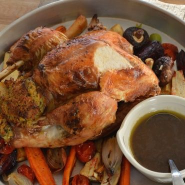 Turkey with sage stuffing and Madeira sauce