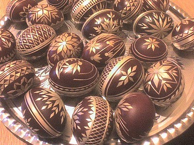 Straw applique eggs from Slovakia