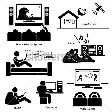 Home House Entertainment Electronic Appliances Stick Figure Pictogram Icon Cliparts stock vector - VectorHQ.com