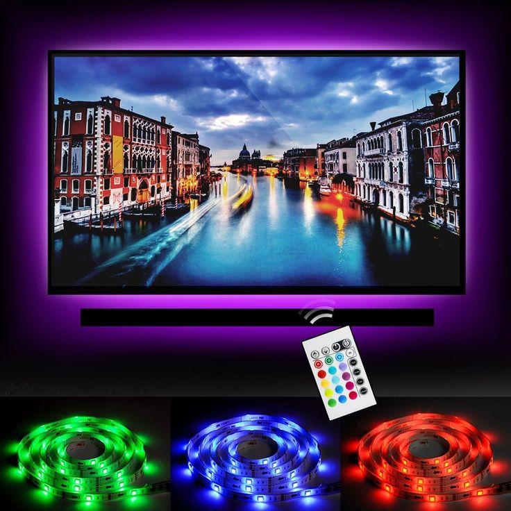 """Emotionlite LED TV Hintergrundbeleuchtung LED Streifen licht Stromversorgung über USB Multi Color RGB-Tape Farbe geändert mit 24Tasten Fernbedienung für 32 """"bis 60"""" Flat Screen HDTV LCD und Desktop-PC"""