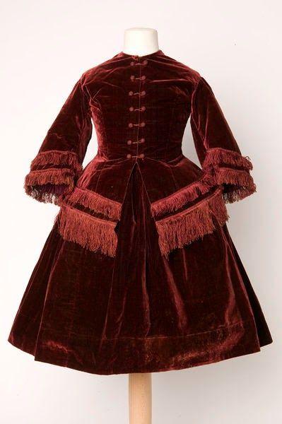Girl's Velvet Suit, 1855-1860, Great Britain, via In the Swan's Shadow.