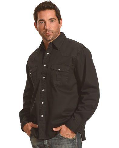 Crazy Cowboy Men's Black Legend Long Sleeve Western Work Shirt | Sheplers