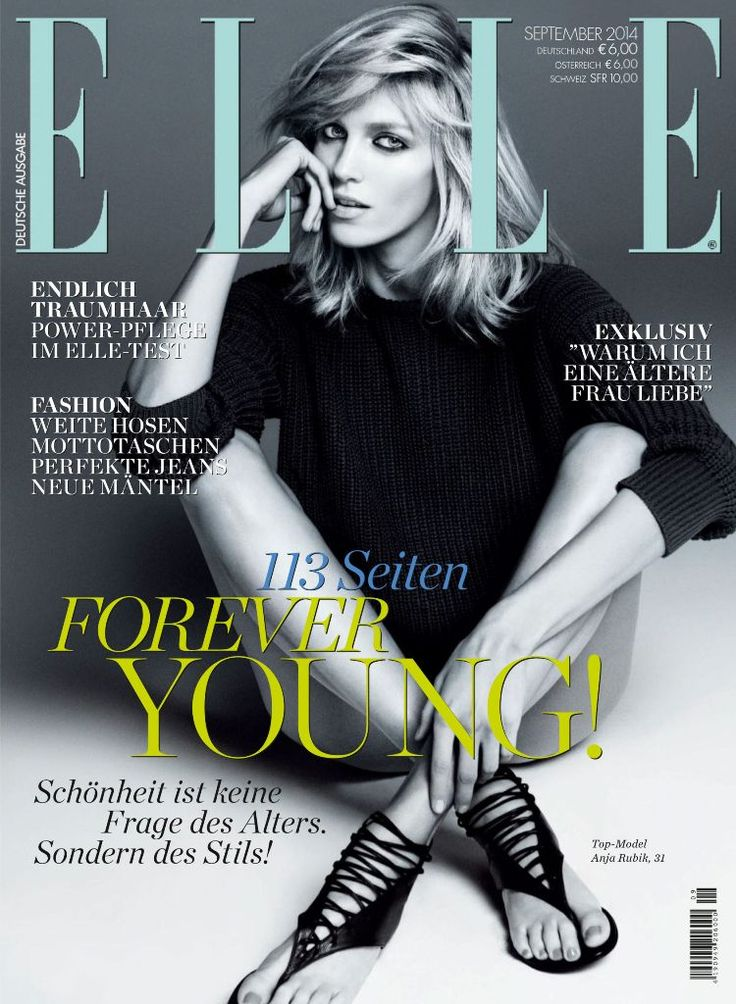 Elle Germany September 2014 | Anja Rubik by Paola Kudacki  [Cover]