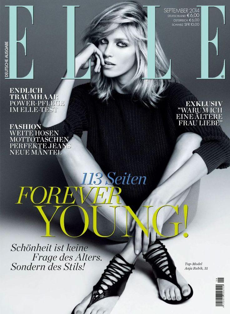 Elle Germany September 2014 | Anja Rubik by Paola Kudacki  [Cover]