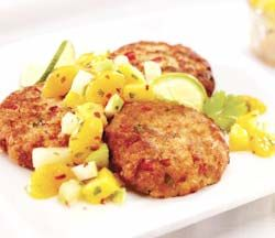 Chicken of the Sea's Easy Salmon Cakes Recipe - make mine with red and green peppers, onions, mayo, lemon, soy sauce, garlic powder, red chili flakes, an egg, and crushed ritz crackers