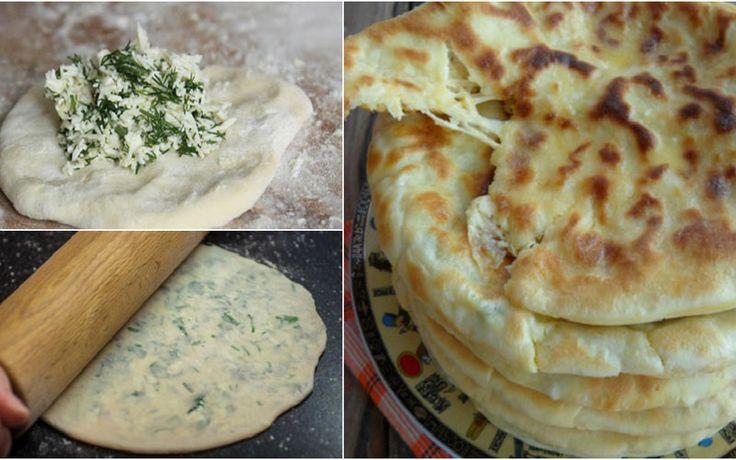 Хычины с сыром и зеленью – Вкусные Рецепты-— Пшеничная мука 400 г — Кефир 1 стак. — Сода 1 ч. л. — Соль 1 ч. л. — Адыгейский сыр 300–400 г — Зелень 1 пуч. — Сливочное масло по вкусу — Йогурт 200 мл — Чеснок 2 зуб.