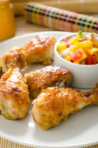 Glazurowane udka kurczaka z salsą mango