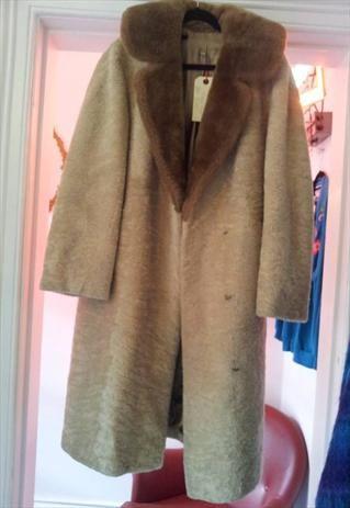 long beige/brown faux fur coat £40