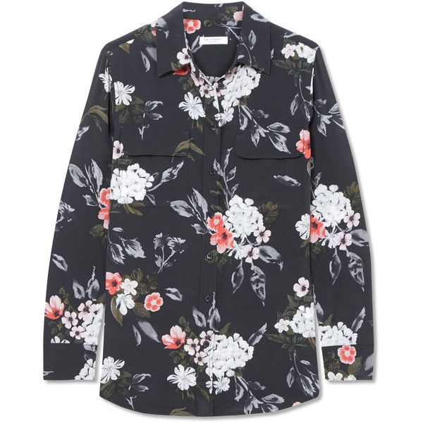 Equipment Slim Signature floral-print washed-silk shirt (21.030 RUB) ❤ liked on Polyvore featuring tops, silk shirt, floral print shirt, loose tops, floral print tops and special occasion tops