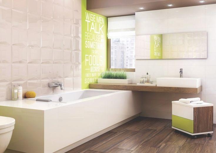 salle de bain beige et bois avec carrelage 3D et déco vert anis