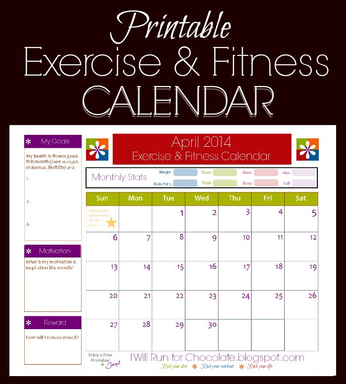 free printable calendar to track your workouts and health