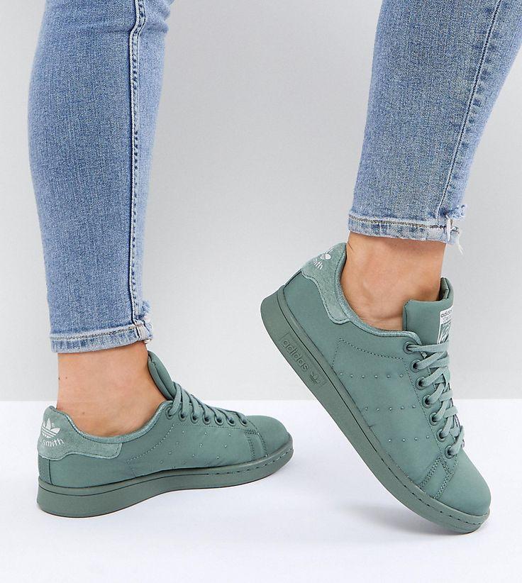 ADIDAS ORIGINALS ADIDAS ORIGINALS KHAKI STAN SMITH SATIN QUILTED SNEAKERS - GREEN. #adidasoriginals #shoes #